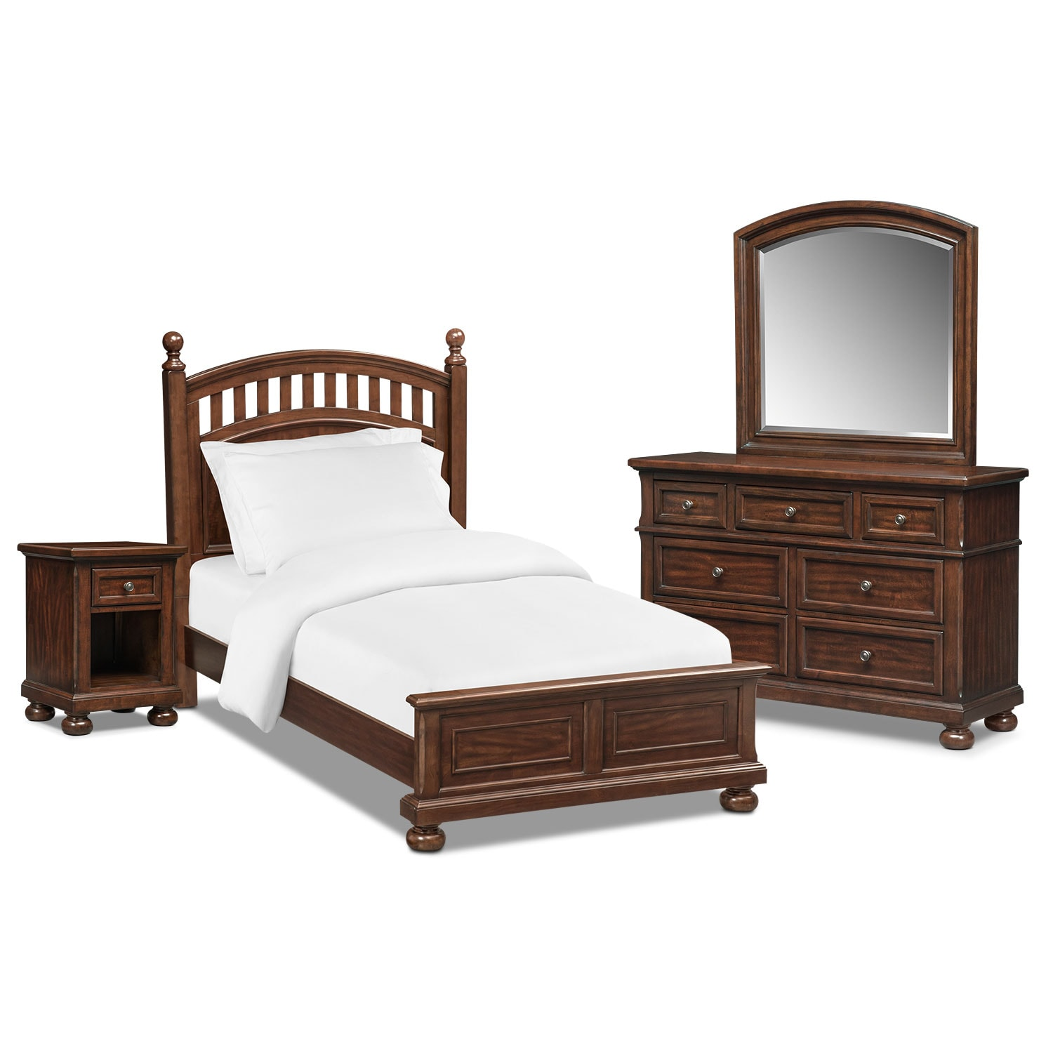 Kids Furniture - Hanover Youth 6-Piece Poster Bedroom Set with Nightstand, Dresser and Mirror