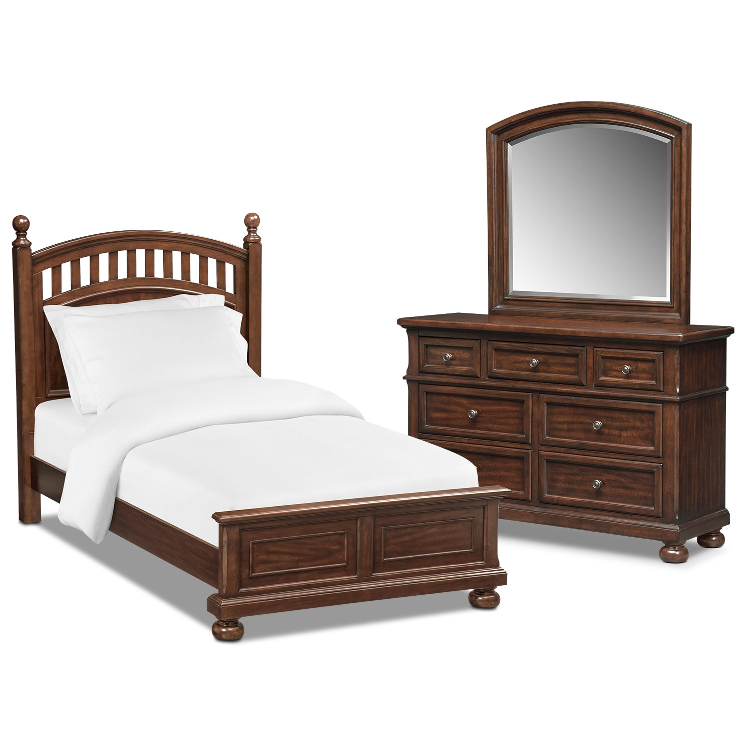 Bedroom Furniture - Hanover Youth 5-Piece Twin Poster Bedroom Set - Cherry