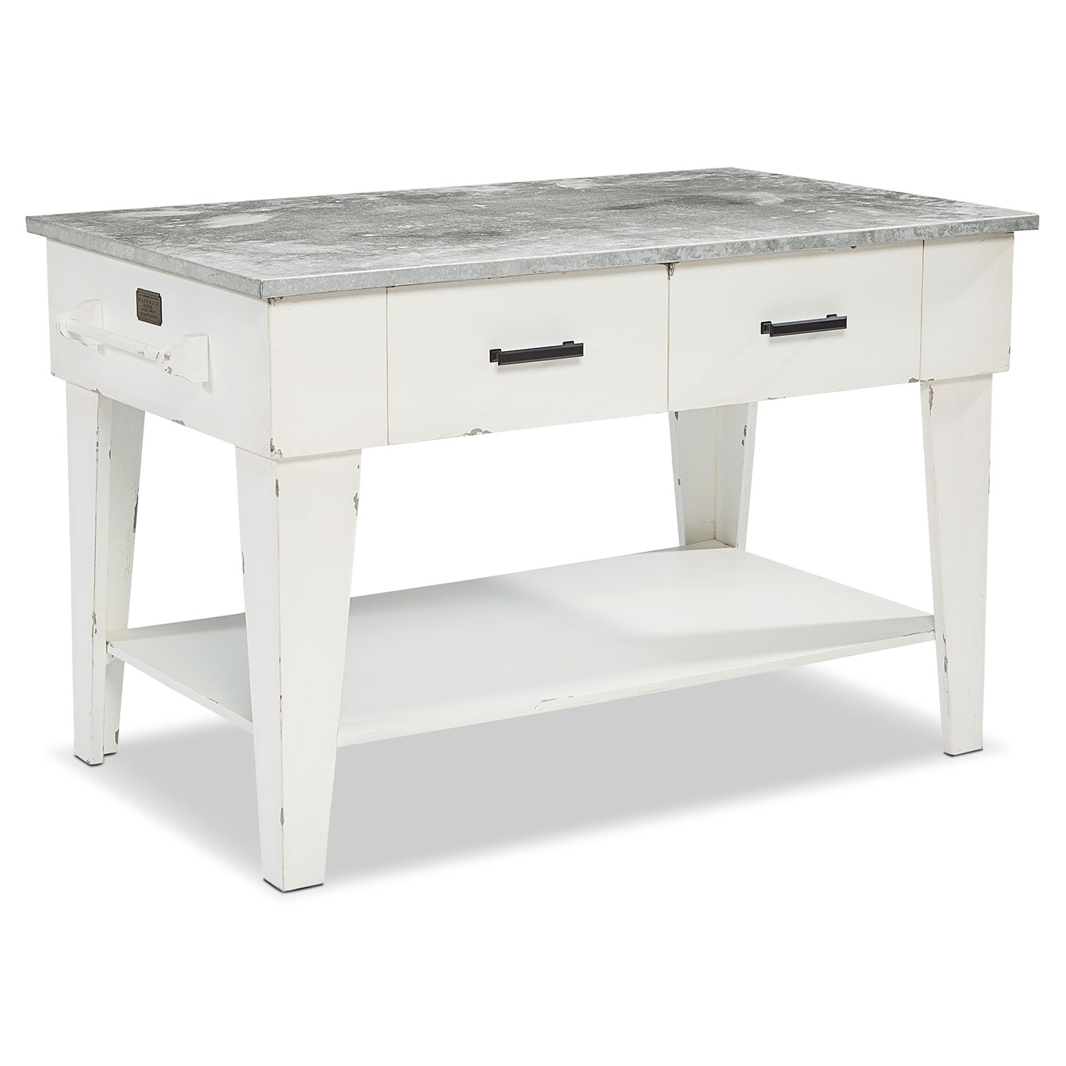 Accent and Occasional Furniture - Farmhouse Kitchen Island - White