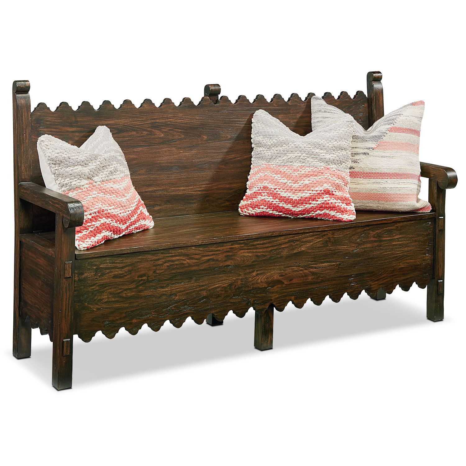 Accent and Occasional Furniture - Farmhouse Scallop Bench with Storage - Barn Door