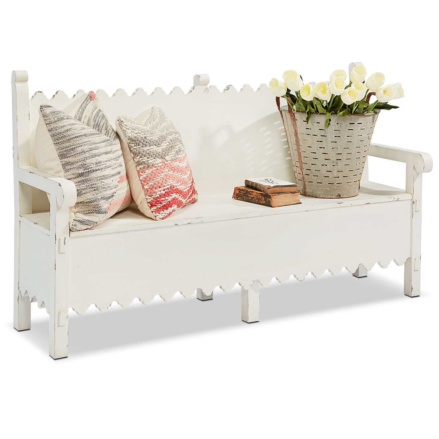 Accent and Occasional Furniture - Farmhouse Scallop Bench with Storage - White