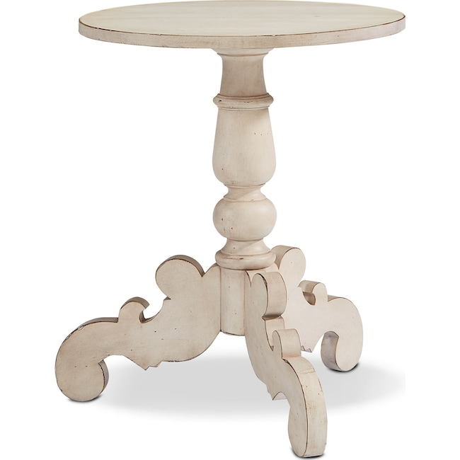 Accent and Occasional Furniture - French Inspired Tripod Hall Table - Antique White