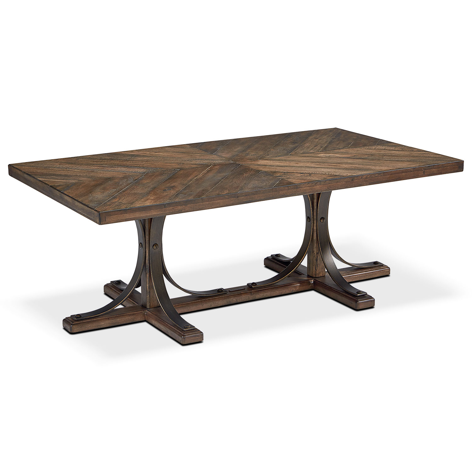 Traditional Iron Trestle Coffee Table