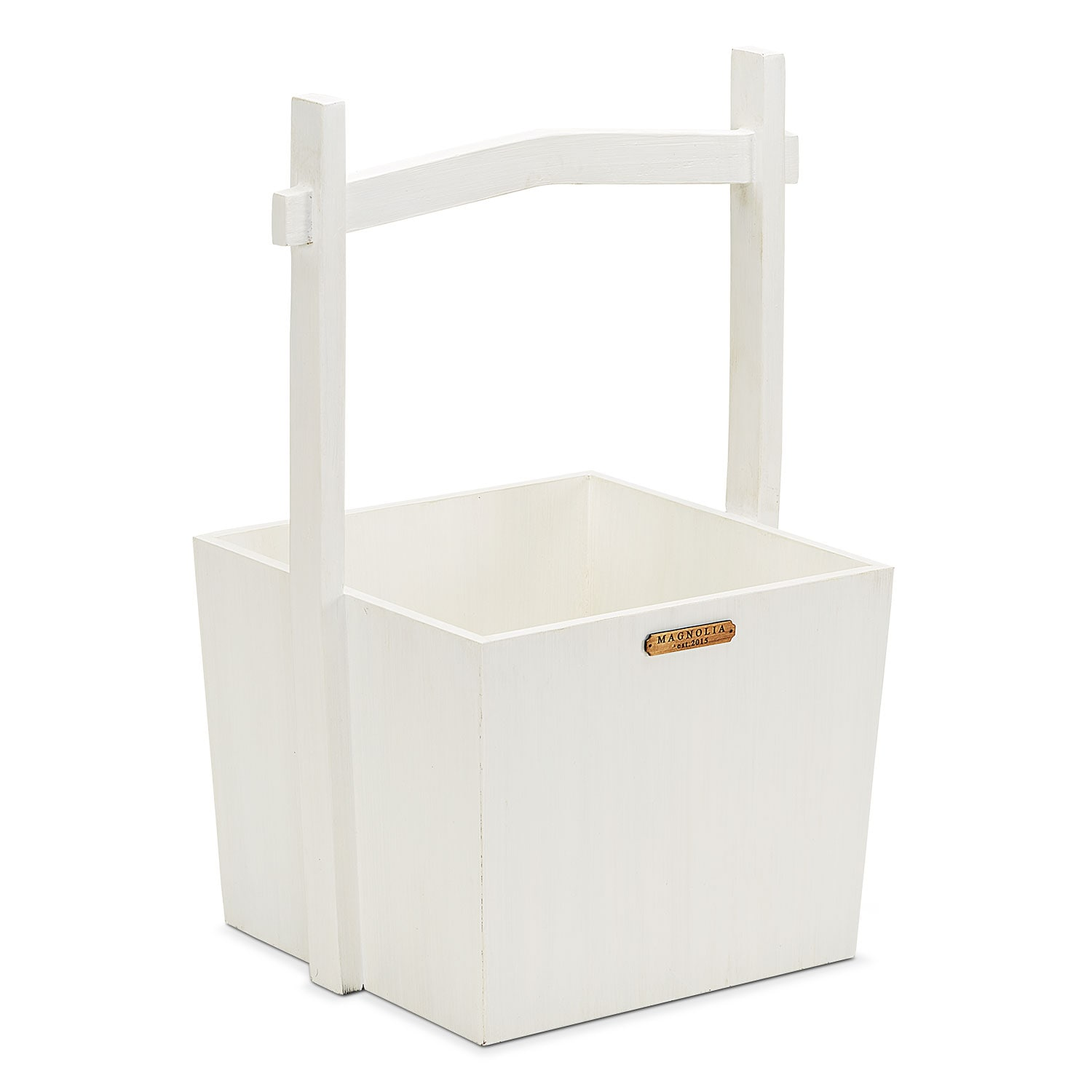 Wishing Well Wood Basket - White