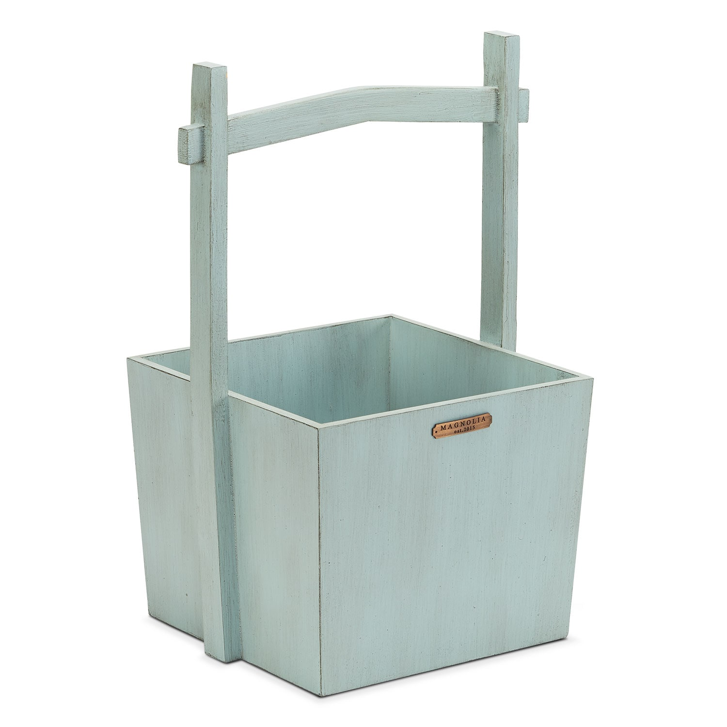 Wishing Well Wood Basket - Blue
