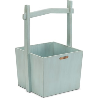 Wishing Well Wood Basket - Blue