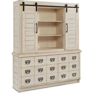 Farmhouse Archive Buffet and Hutch - Antique White