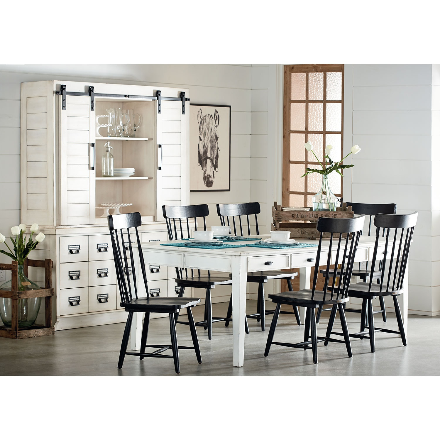 Dining Room Furniture - Farmhouse Keeping Table, Six Farmhouse Spindle Back Chairs and Two Primitive Windsor Hoop Chairs