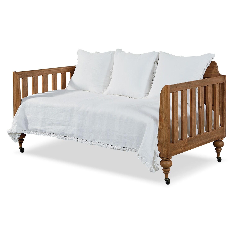 Bedroom Furniture - Primitive Framed Panel Daybed - Bench