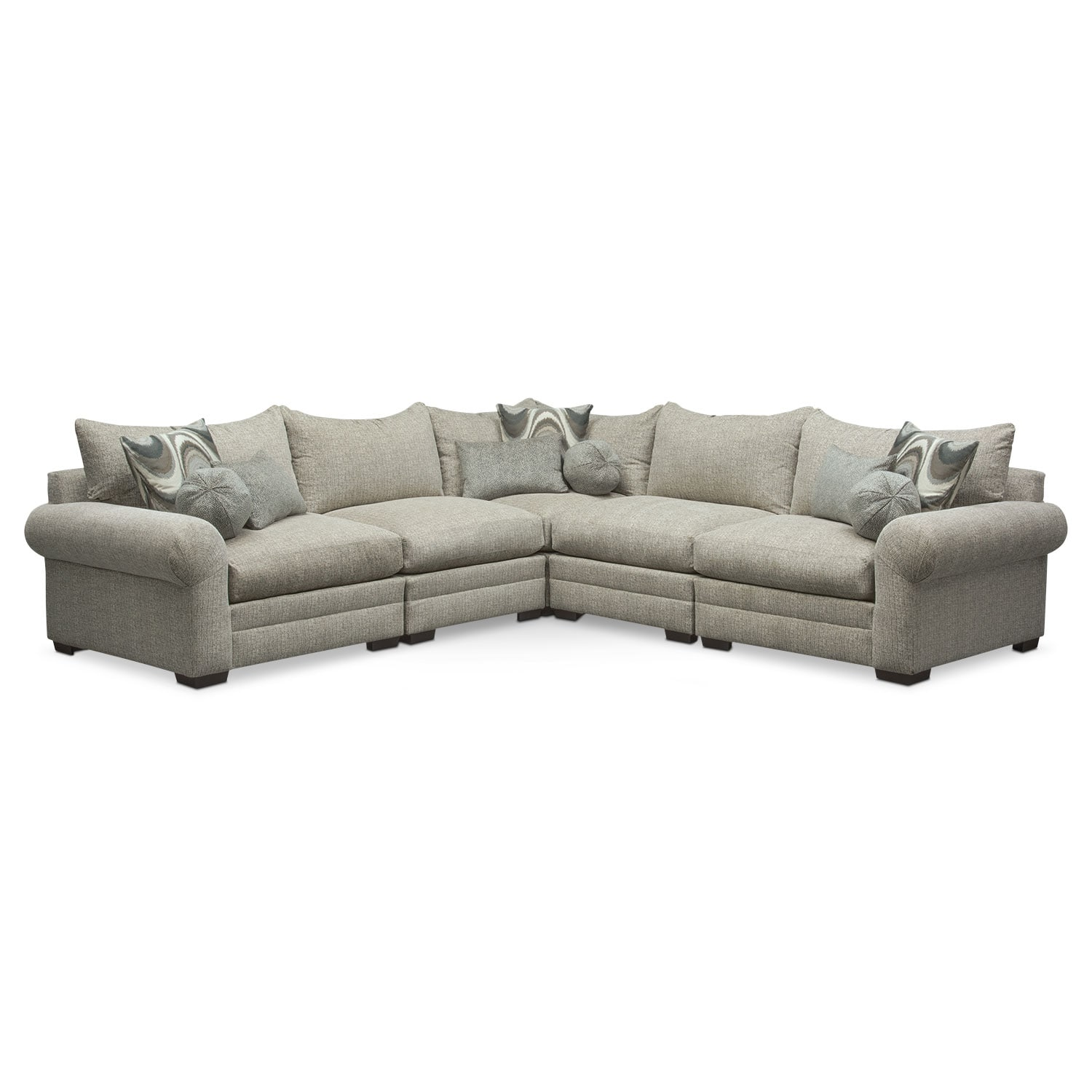 Living Room Furniture - Wilshire 5-Piece Sectional - Gray