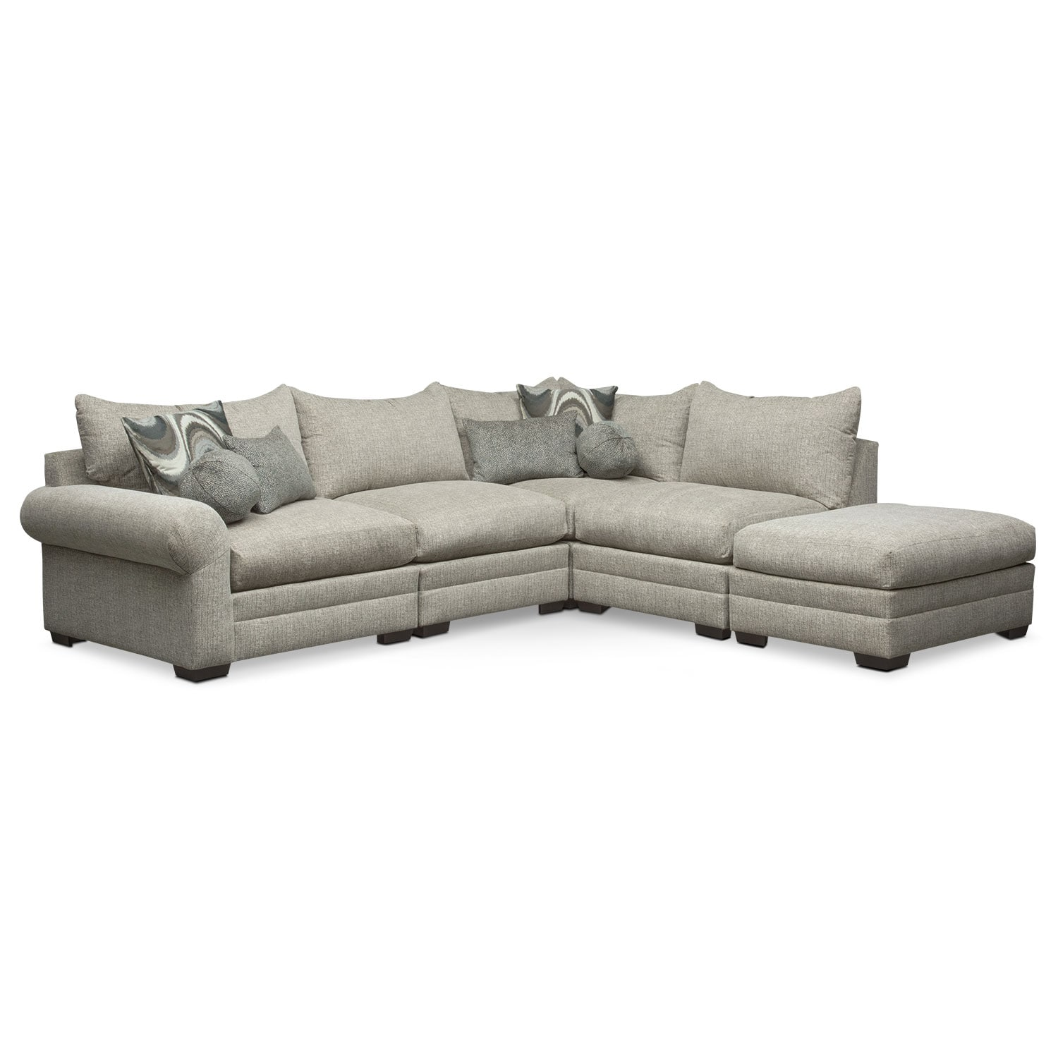 Living Room Furniture - Wilshire 5-Piece Right-Facing Sectional - Gray