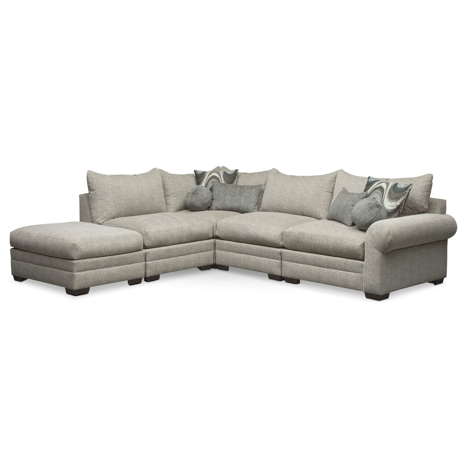 Living Room Furniture - Wilshire 5-Piece Left-Facing Sectional - Gray