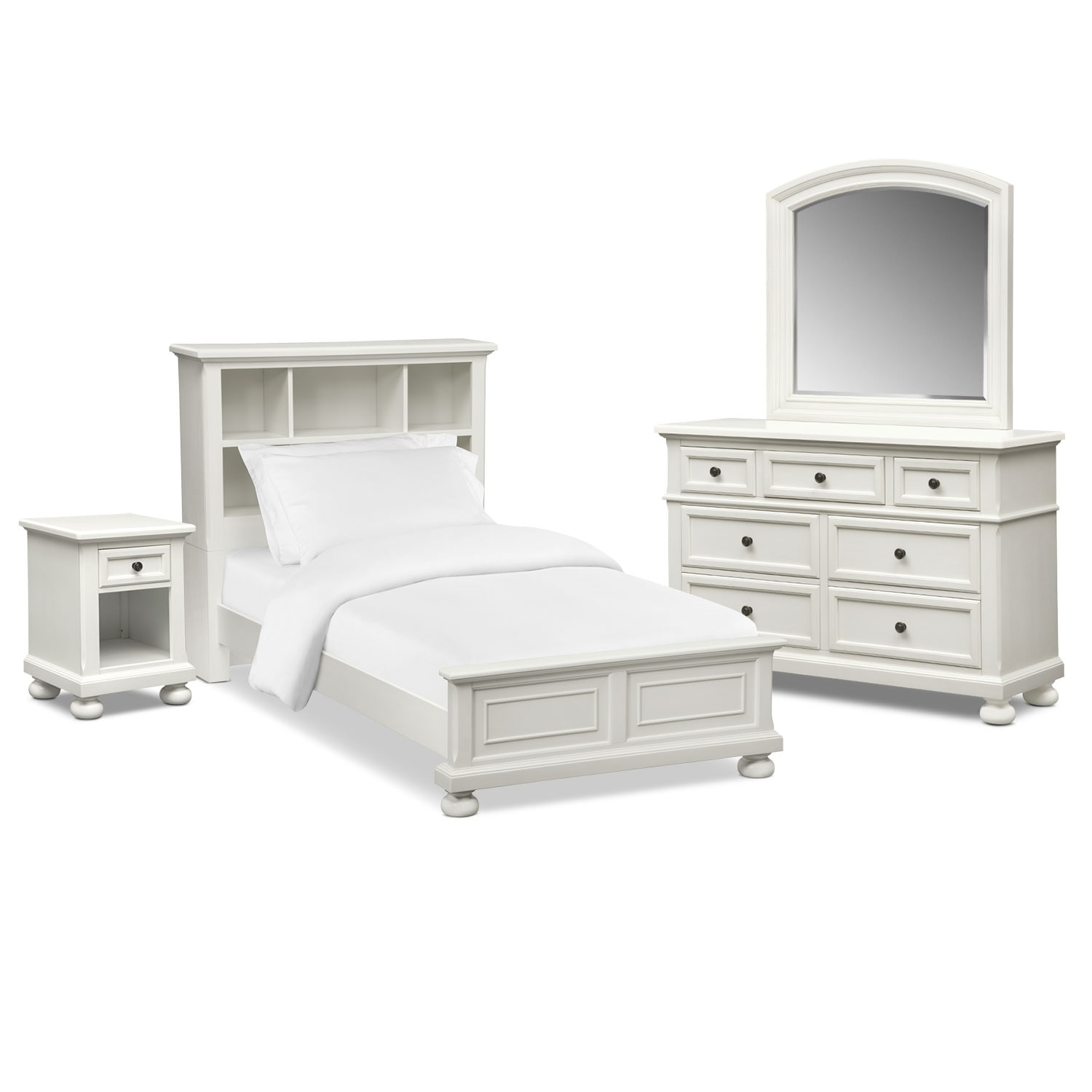 Hanover youth 6 piece twin bookcase bedroom set with for White bedroom set with storage