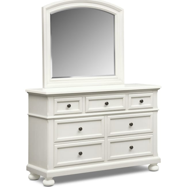 Bedroom Furniture - Hanover Youth Dresser and Mirror - White