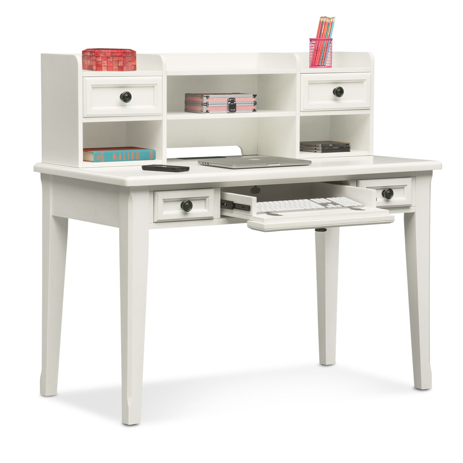 Bedroom Furniture - Hanover Youth Desk and Hutch - White