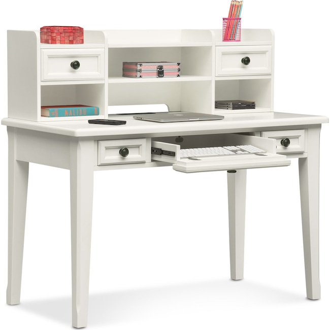 Kids Furniture - Hanover Youth Desk and Hutch - White