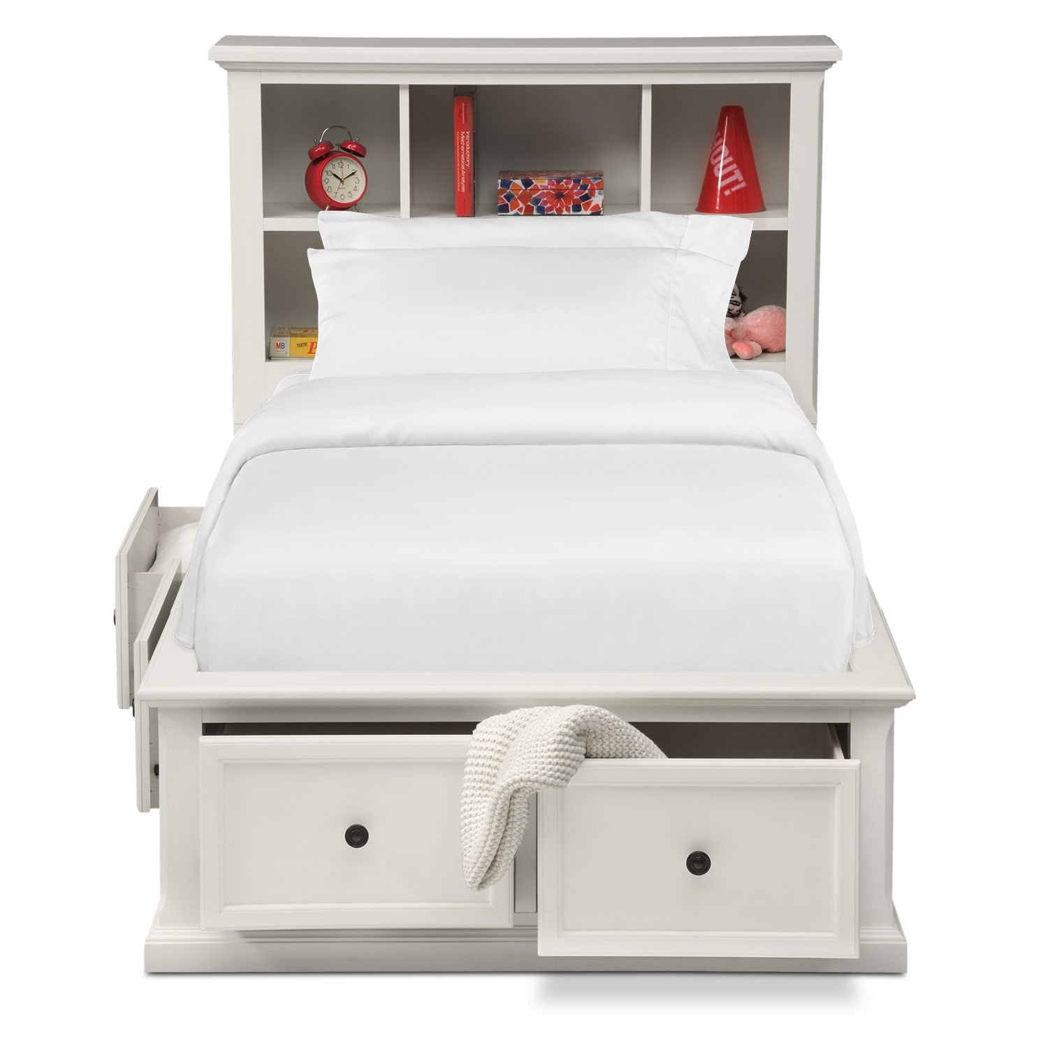 Hanover Youth Twin Bookcase Bed With Storage White