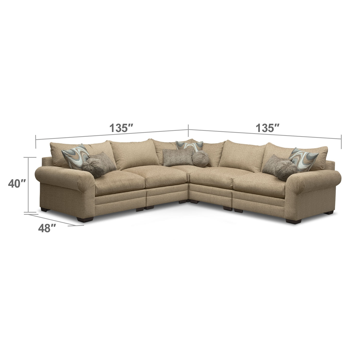 Living Room Furniture - Wilshire 5-Piece Sectional - Taupe