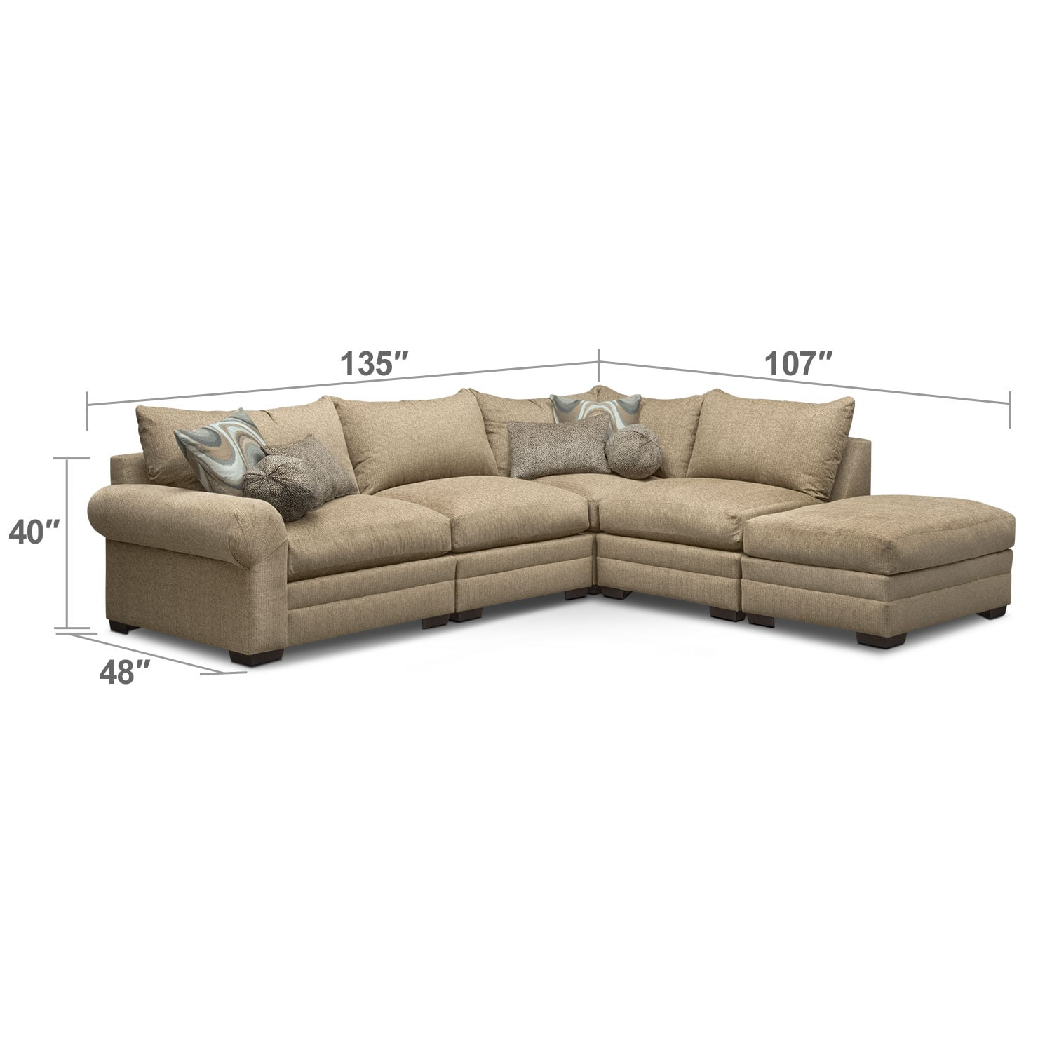 Living Room Furniture - Wilshire 5-Piece Right-Facing Sectional - Taupe