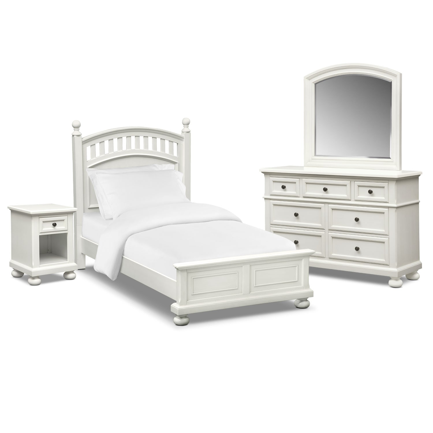 Bedroom Furniture - Hanover Youth 6-Piece Poster Bedroom Set with Nightstand, Dresser and Mirror