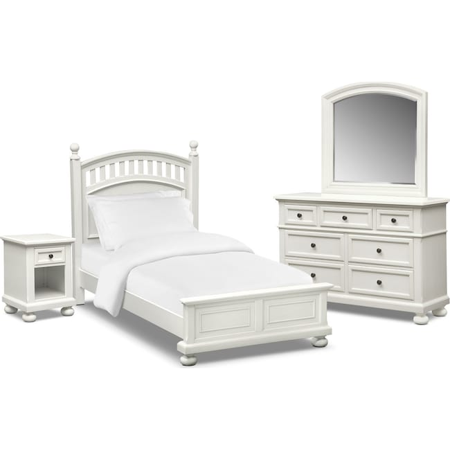 Bedroom Furniture - Hanover Youth 6-Piece Twin Poster Bedroom Set - White