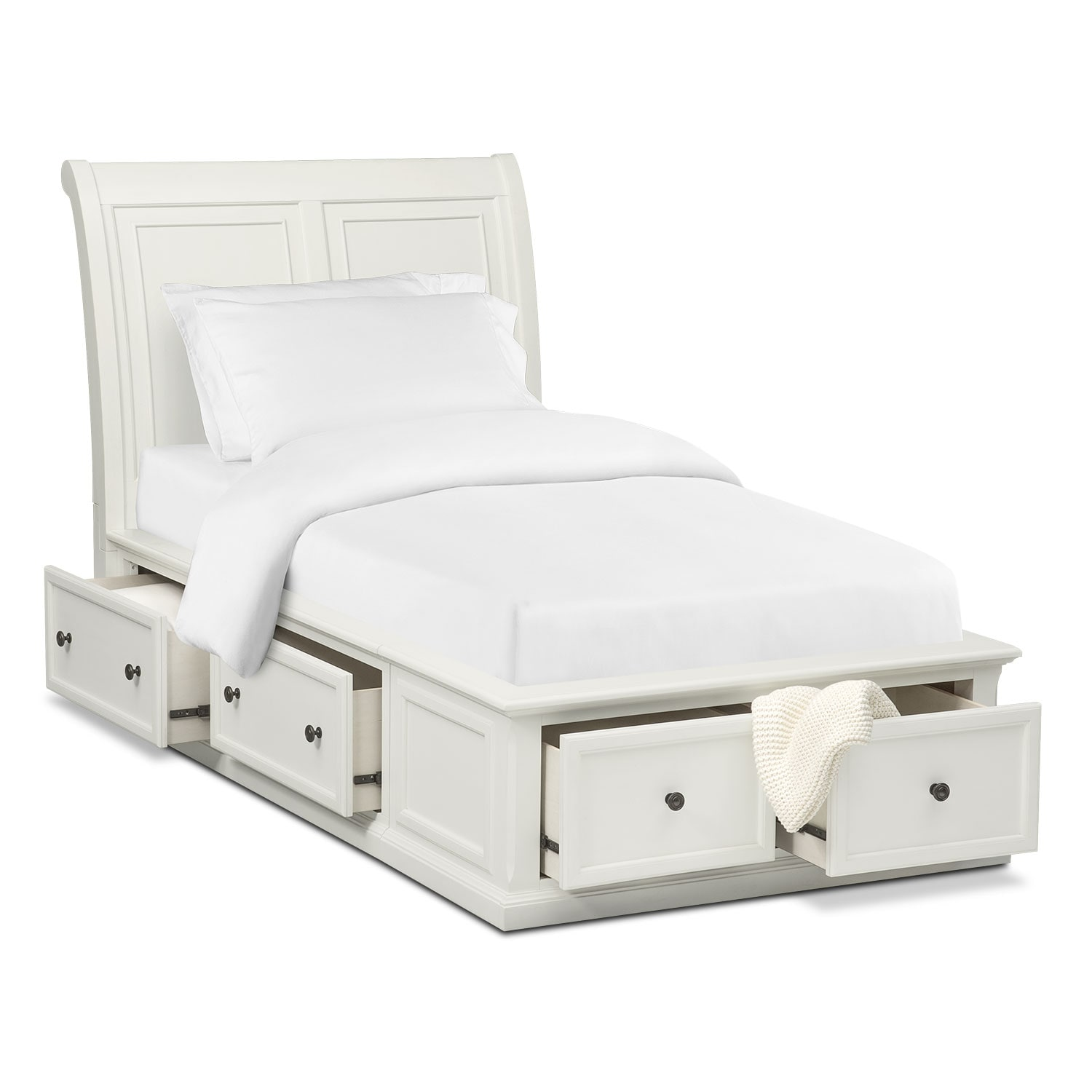 Bedroom Furniture - Hanover Youth Full Sleigh Bed with Storage - White