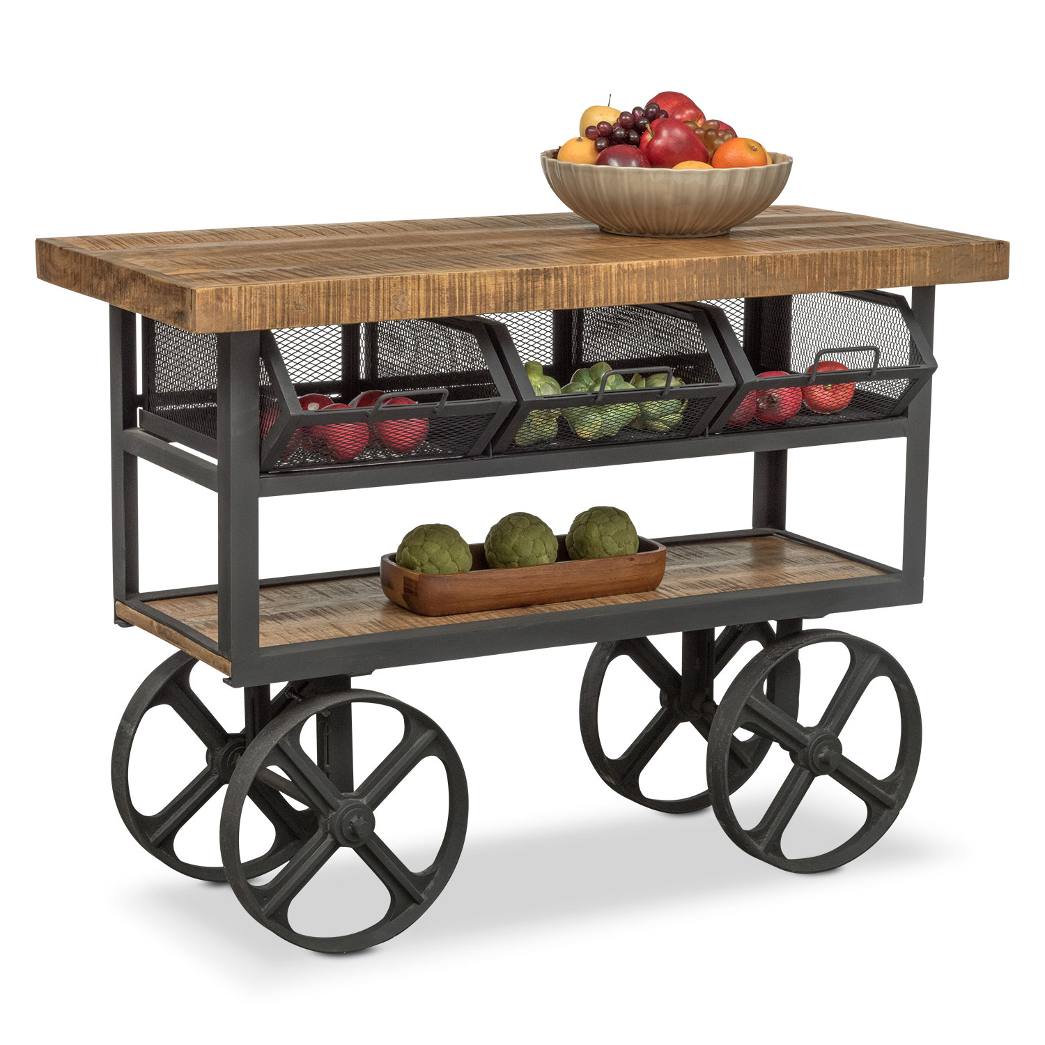 Prospector Console Trolley - Natural and Black