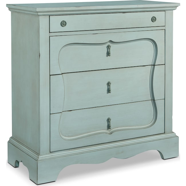 Bedroom Furniture - French Inspired Silhouette 4-Drawer Chest - French Blue