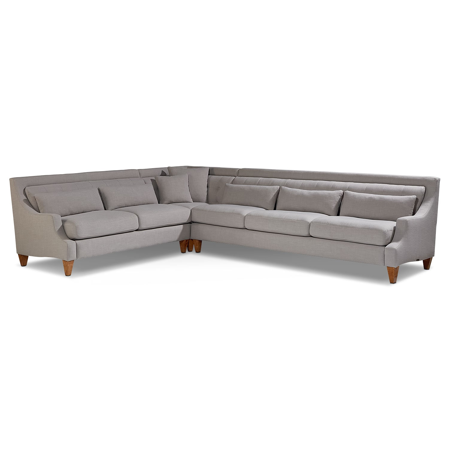 Chisel 3-Piece Sectional - Flannel Gray