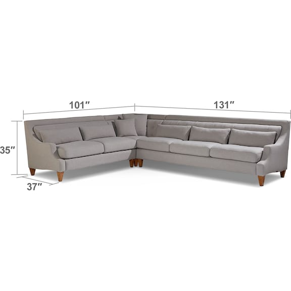 Living Room Furniture - Chisel 3-Piece Sectional - Flannel Gray