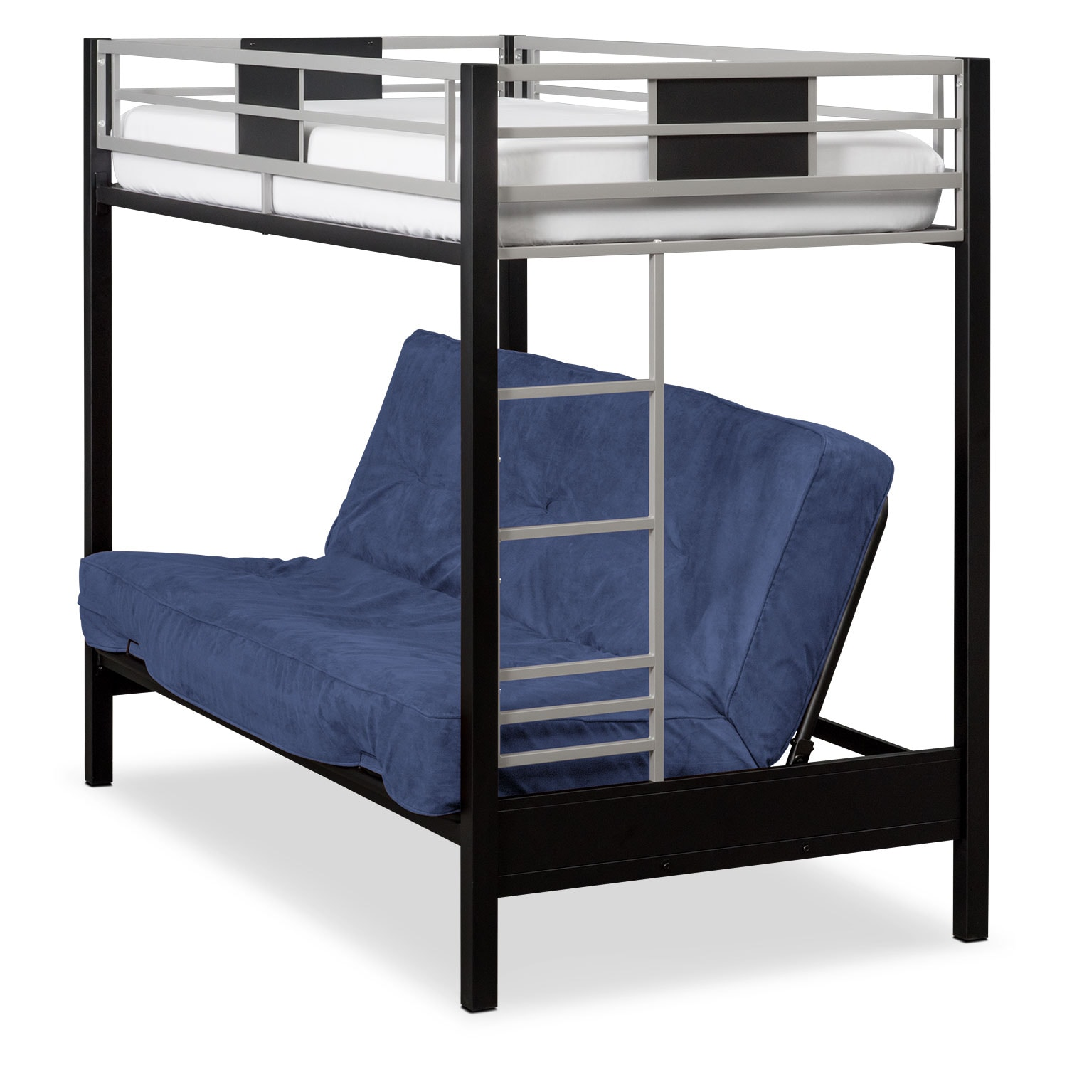 Bedroom Furniture - Samba Youth Twin/Full Futon Bunk Bed with Blue Futon Mattress