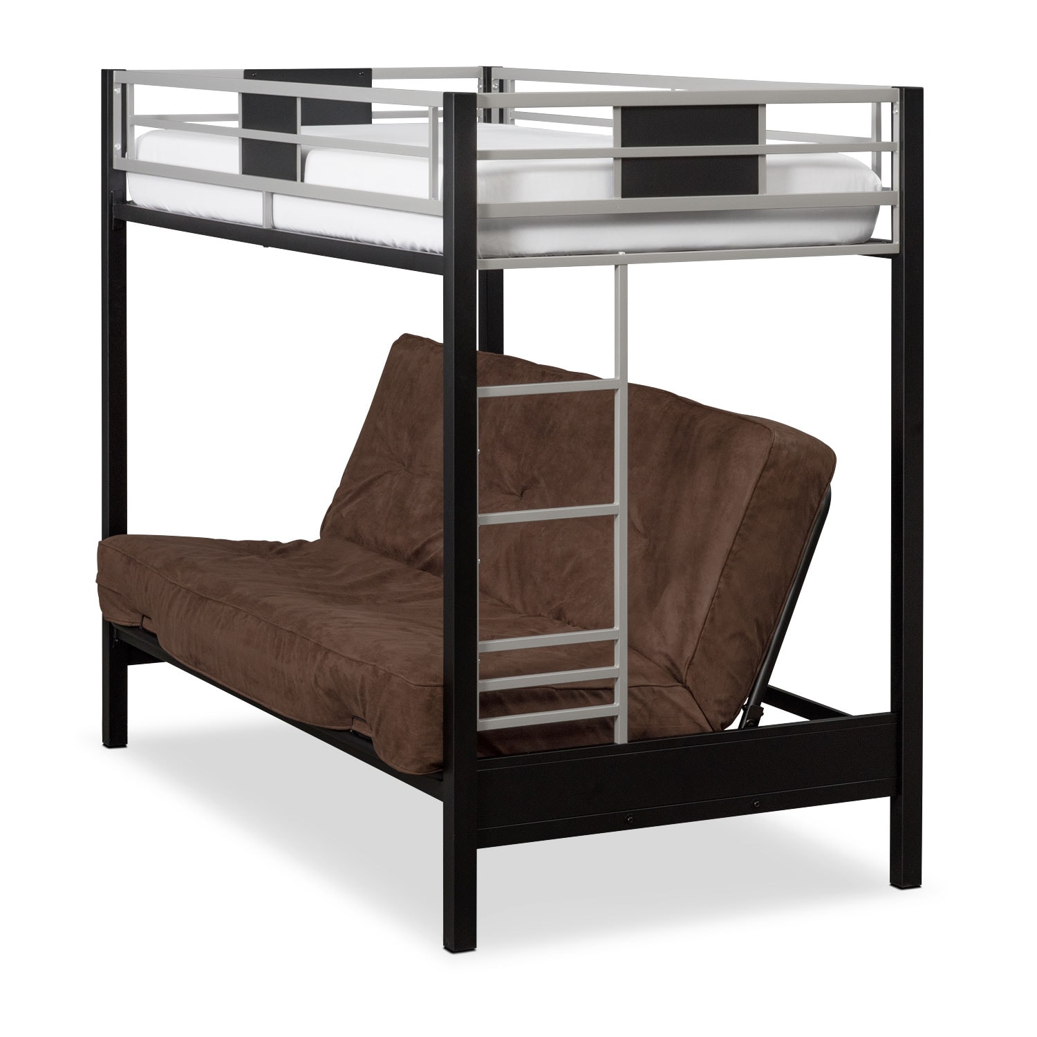 Kids Furniture - Samba Youth Twin/Full Futon Bunk Bed with Chocolate Futon Mattress