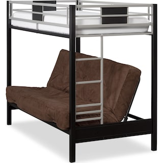 Samba Youth Twin/Full Futon Bunk Bed with Chocolate Futon Mattress