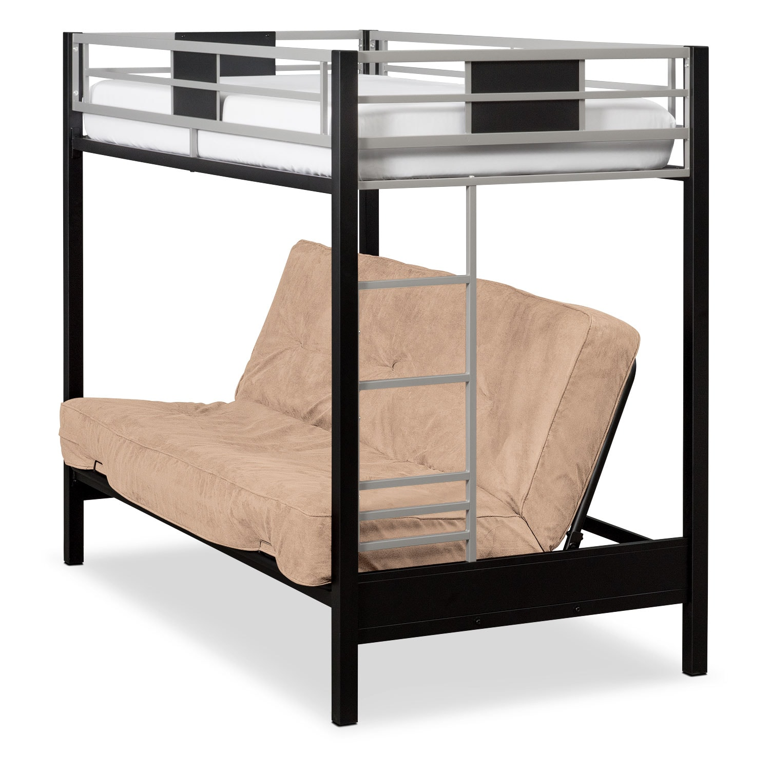 Kids Furniture - Samba Youth Twin/Full Futon Bunk Bed with Cappuccino Futon Mattress