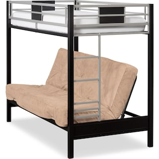 Samba Youth Twin/Full Futon Bunk Bed with Cappuccino Futon Mattress