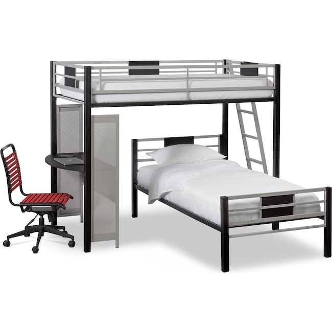 Kids Furniture - Samba Twin over Twin Loft Bed with Desk - Matte Black