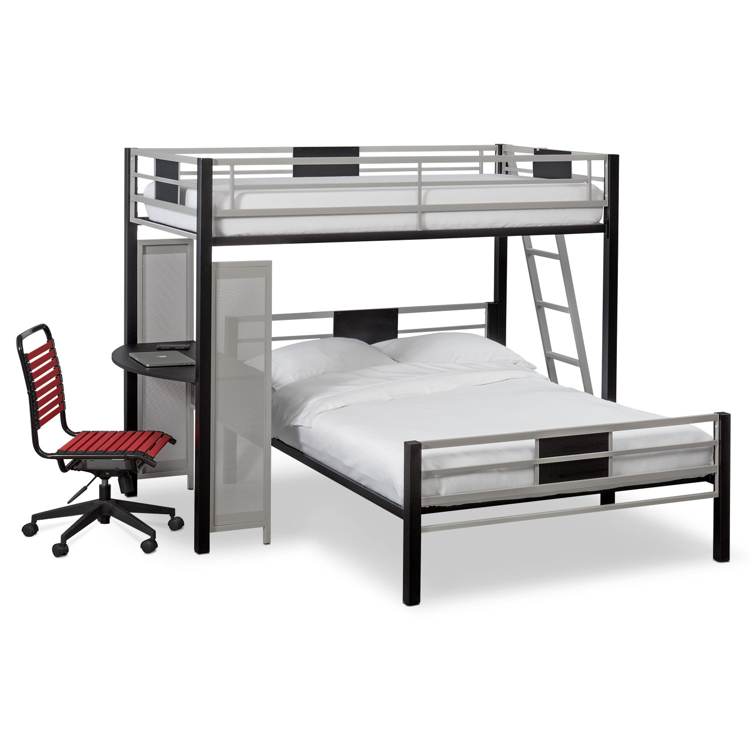 Bedroom Furniture - Samba Youth Twin/Full Loft Bed with Desk - Matte Black