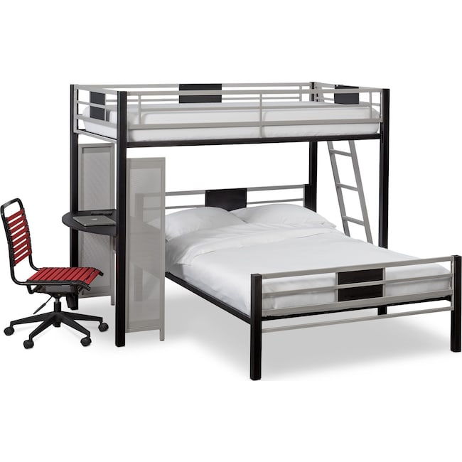 Kids Furniture - Samba Twin over Full Loft Bed with Desk - Matte Black