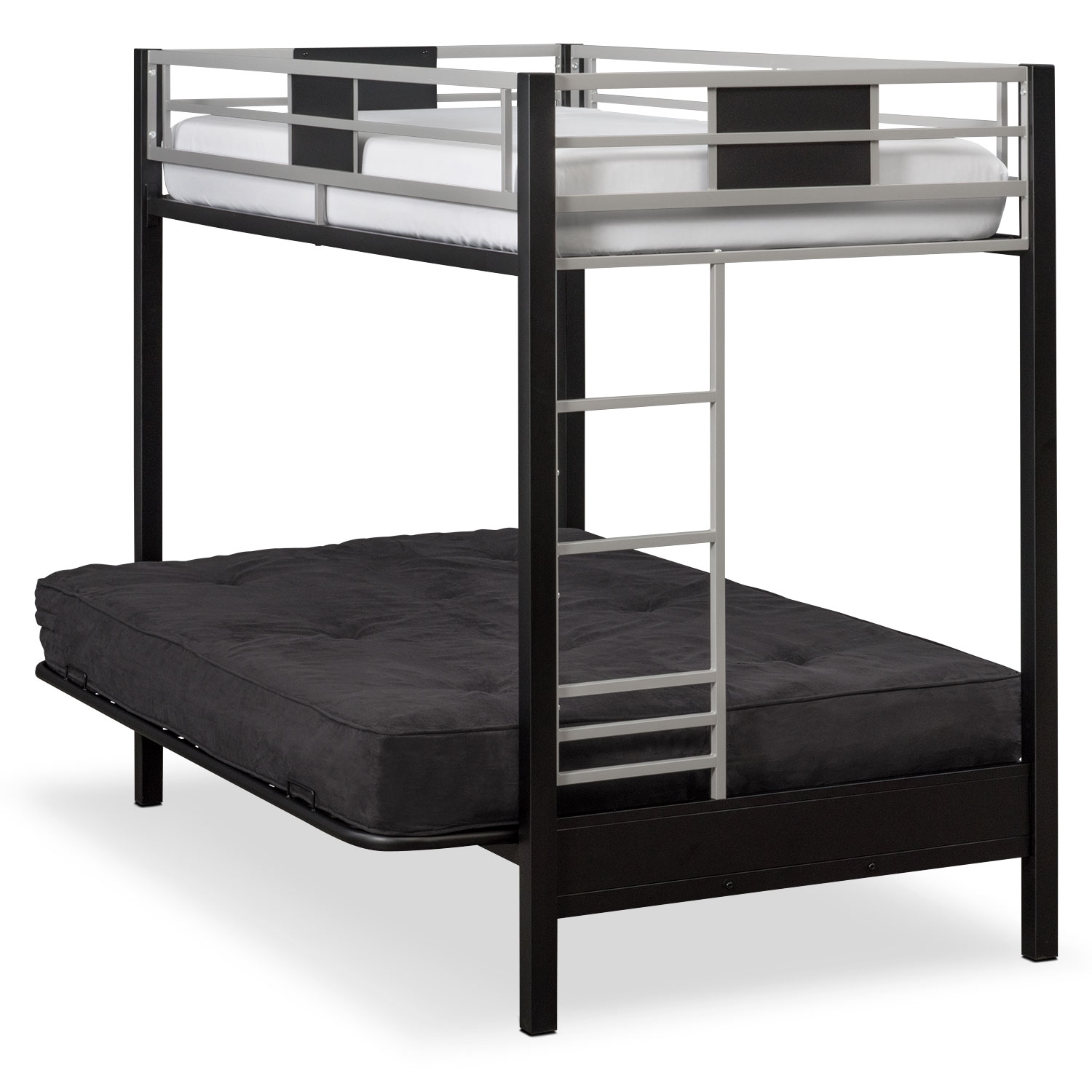 click to change image  samba youth twin full futon bunk bed with black futon mattress      rh   valuecityfurniture