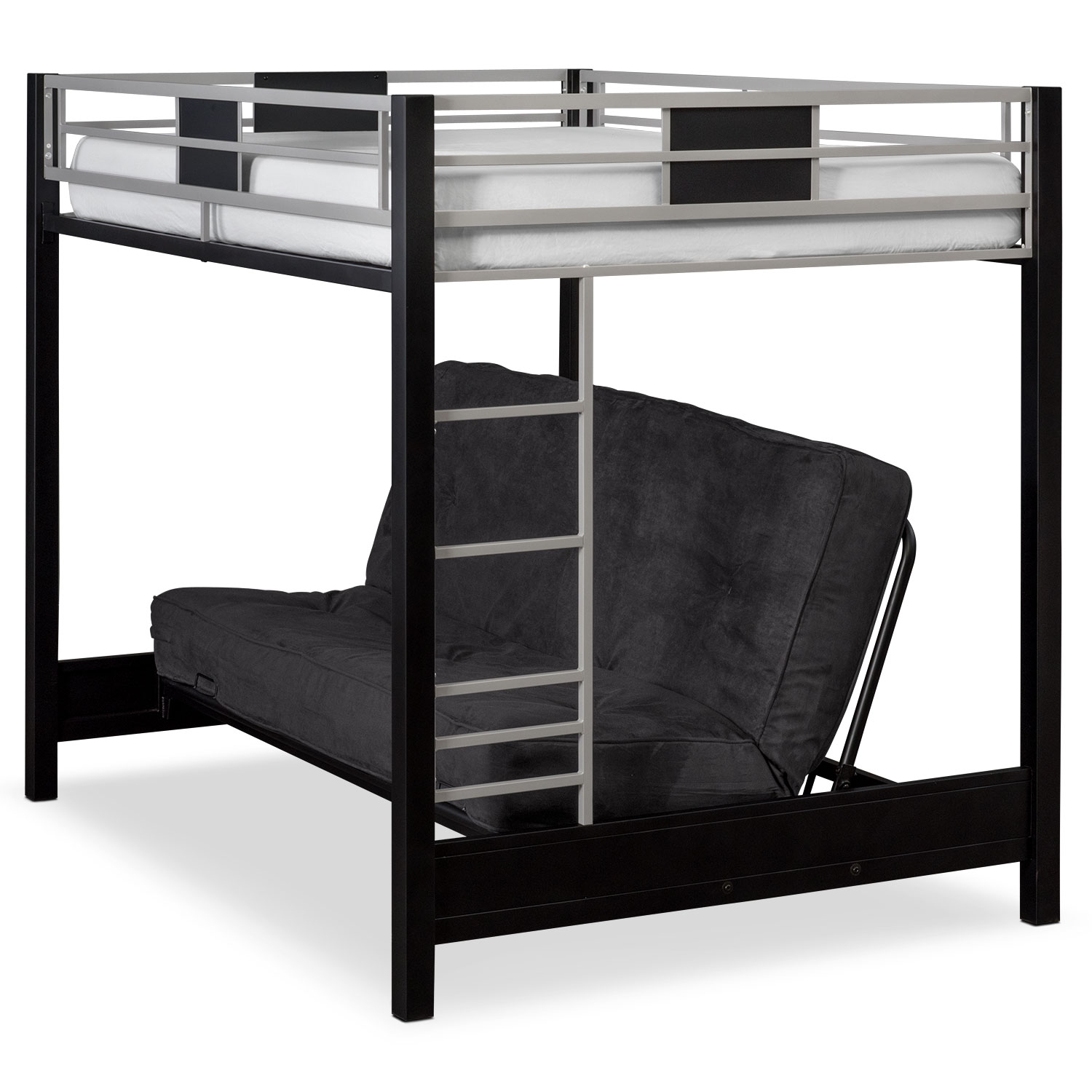 Bunk Bed Samba Full Full Futon Bunkbed Matte Black Value City Furniture