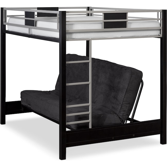 Bedroom Furniture - Samba Full/Full Futon Bunkbed - Matte Black