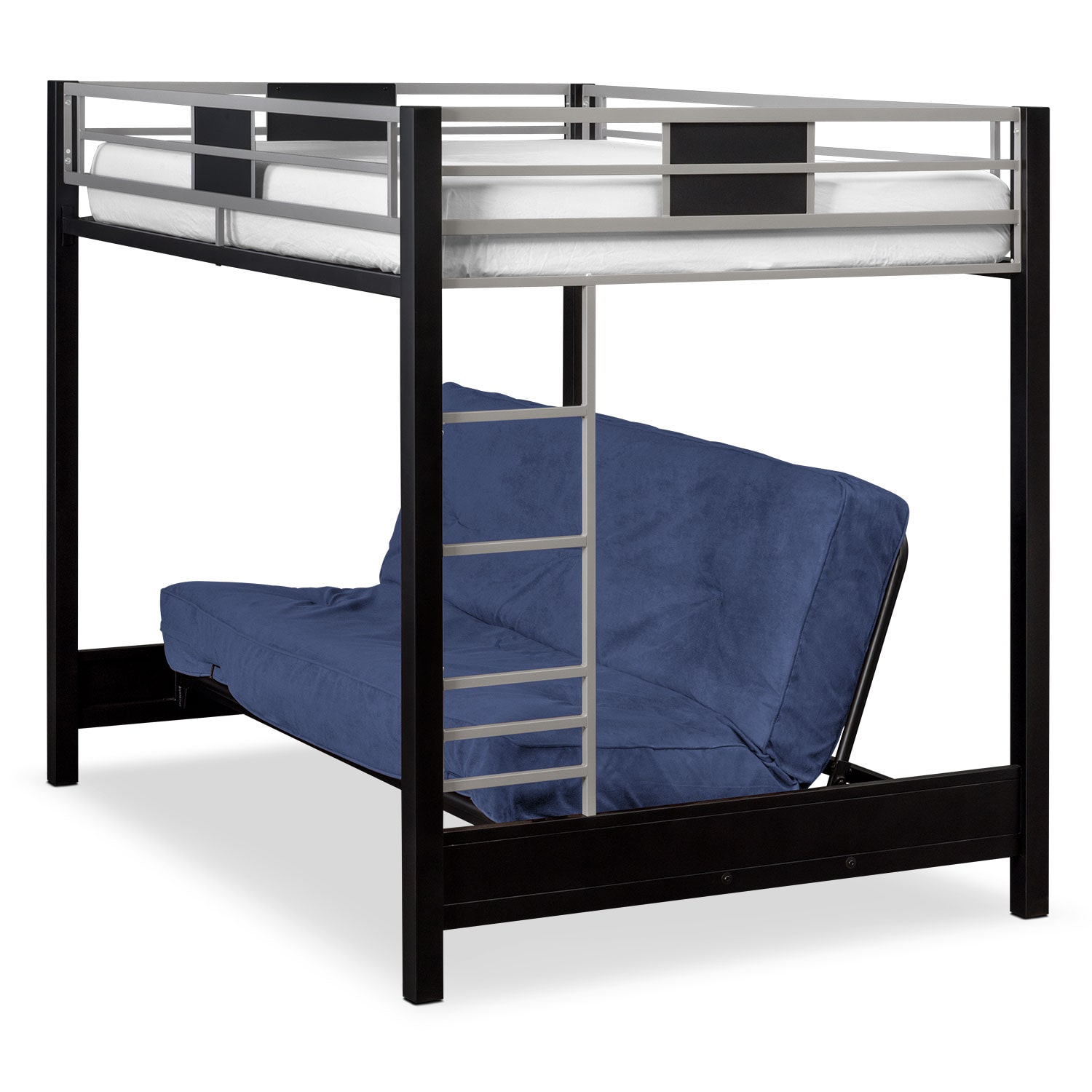 Samba Youth Full Futon Bunk Bed with Blue Futon Mattress