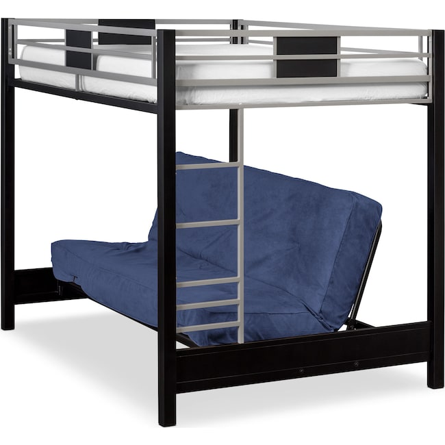 Bedroom Furniture - Samba Full Futon Bunk Bed with Blue Futon Mattress