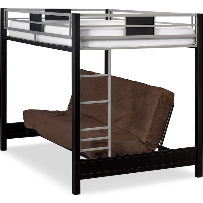 Bedroom Furniture - Samba Full Futon Bunk Bed with Chocolate Futon Mattress
