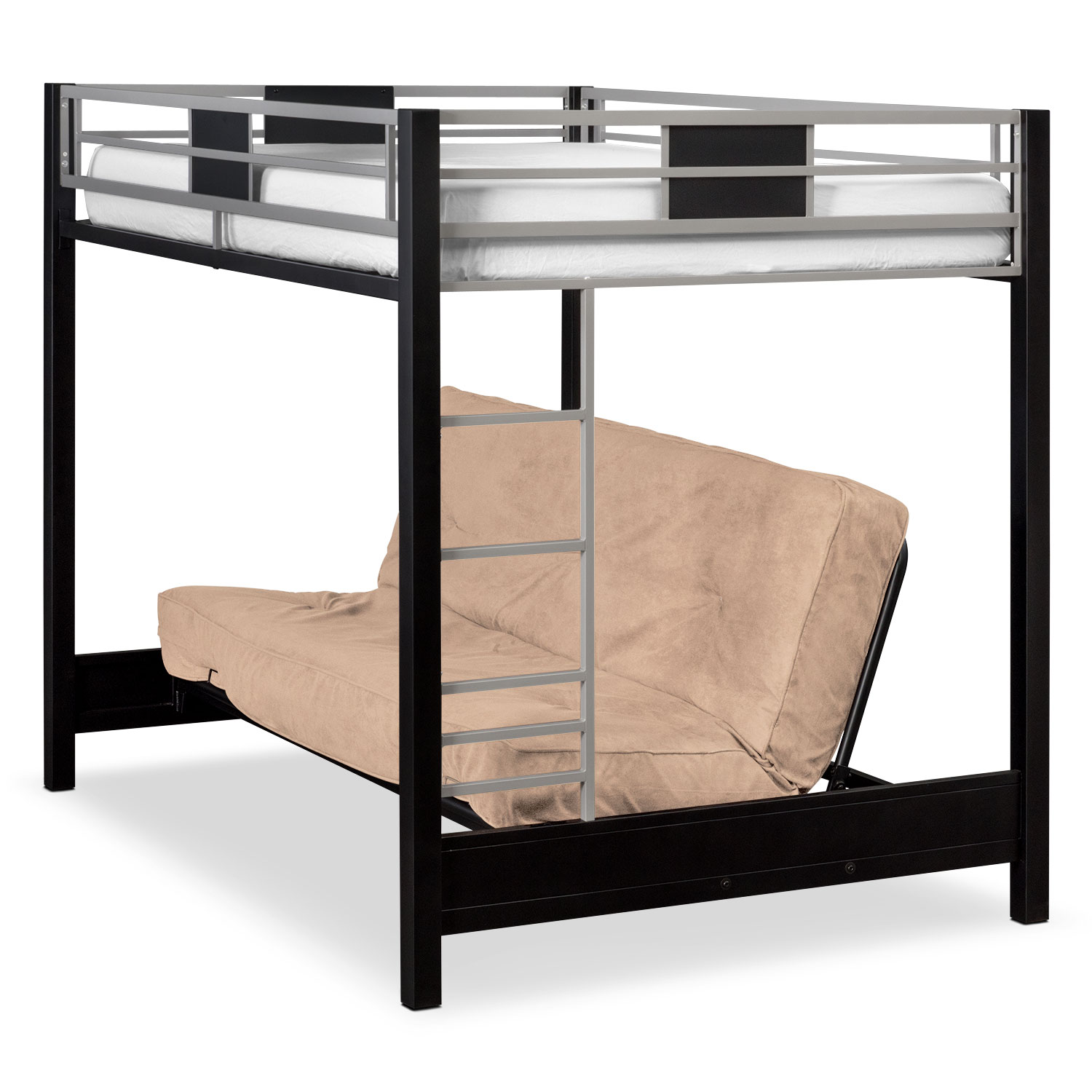 Kids Furniture - Samba Full Futon Bunk Bed with Cappuccino Futon Mattress
