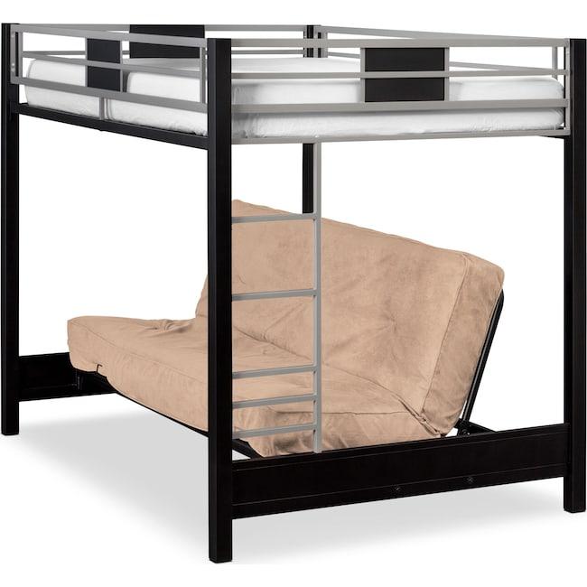 Kids Furniture - Samba Full Futon Bunk Bed with Cappuccino Futon Mattress