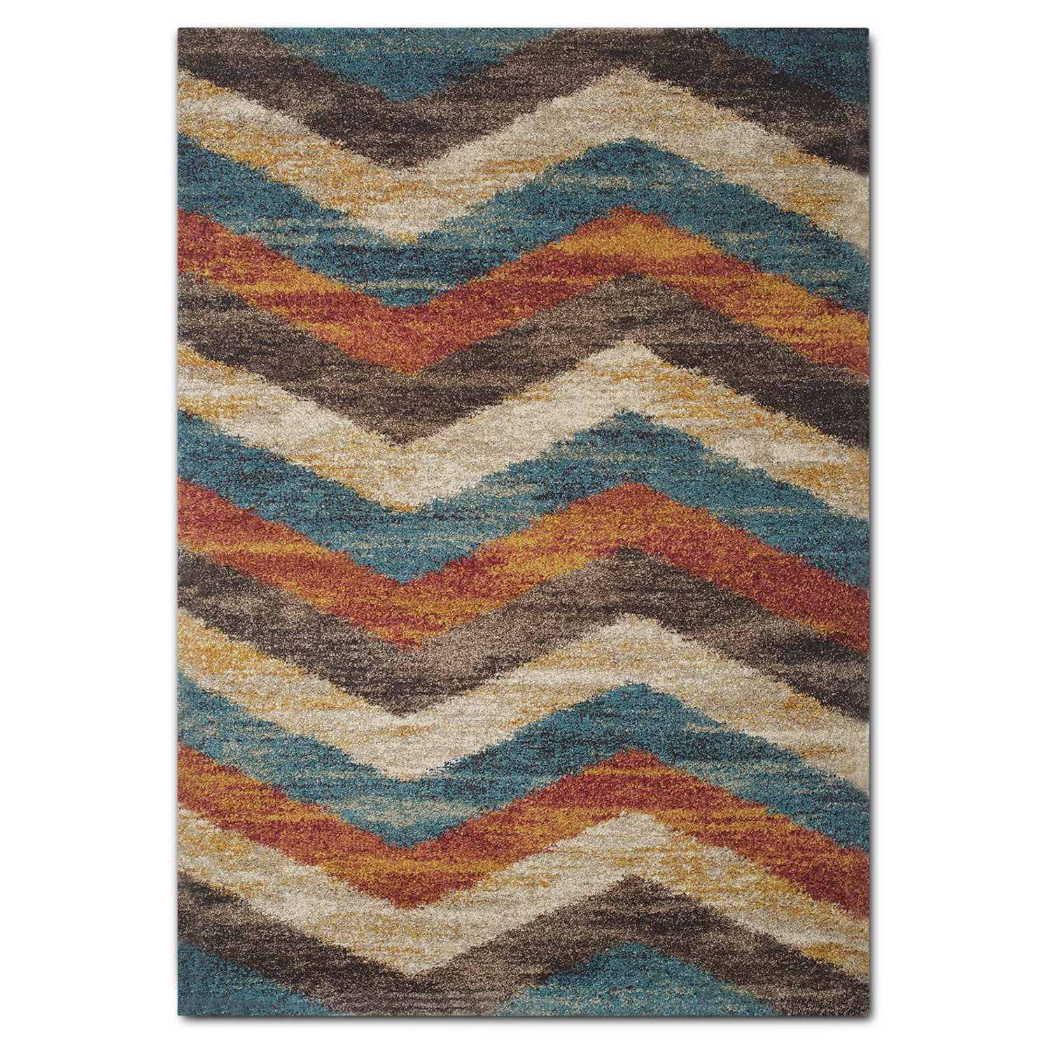 Rugs - Granada Area Rug - Blue and Rust