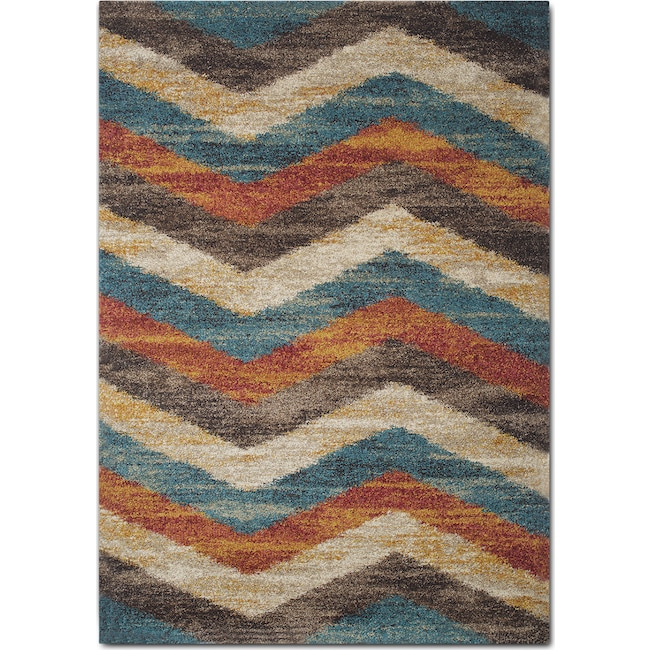 Rugs - Granada 5' x 8' Area Rug - Blue and Rust
