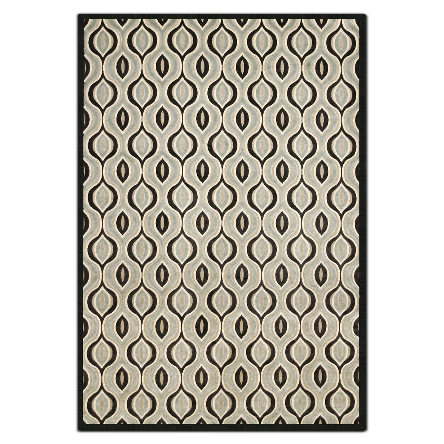 Rugs - Napa 8' x 10' Area Rug - Black and Aqua