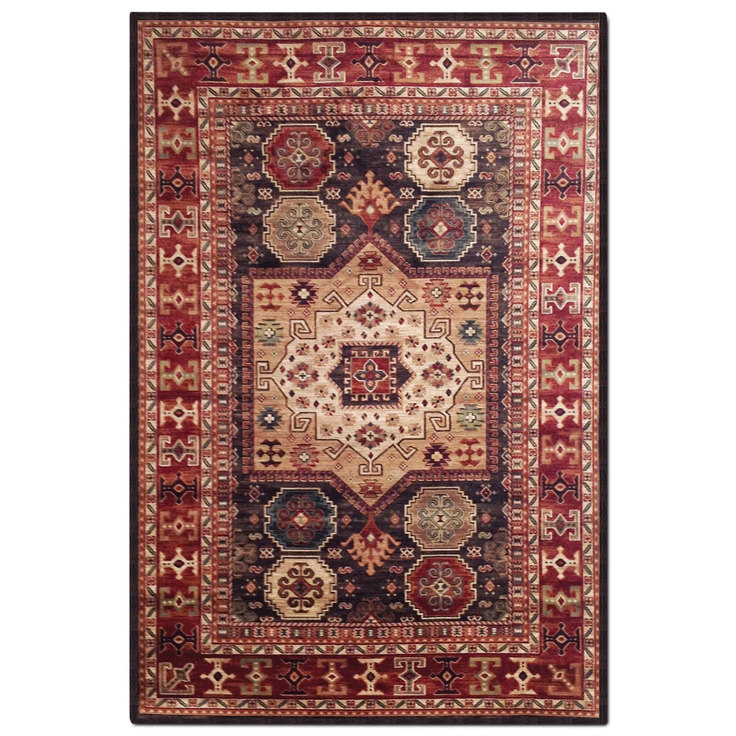 Rugs - Sonoma 5' x 8' Area Rug - Chocolate and Red